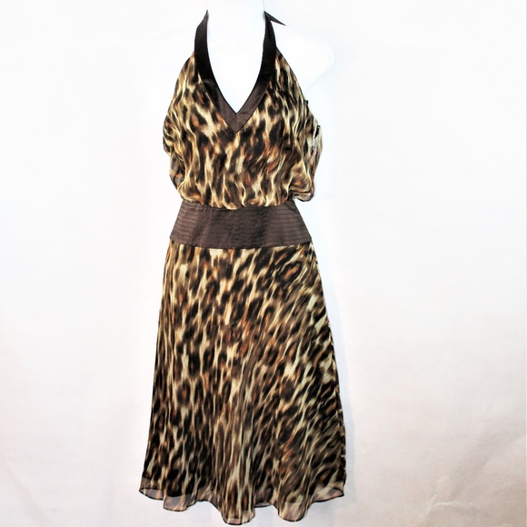 Laundry By Shelli Segal Dresses & Skirts - NWT Laundry Shelli Segal Leopard Silk Halter Dress